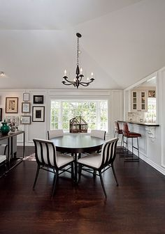 Dining - Love the clean white walls and dark hardwood floors