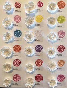 Cheat sheet for 18 Cricut flowers Paper Flowers Craft, Flower Crafts, Paper Crafts, Rolled Paper Flowers, Paper Roses, Cricut Explore Projects, Vinyl Craft Projects, Vinyl Crafts, Flower Shadow Box