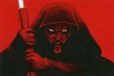 Darth Maul - Red Board #2, Greg Hildebrandt Eye Piercing, Yellow Eyes, Darth Maul, S Tattoo, Dark Side, Comic Art, Star Wars, Drawings, Board