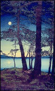 """""""Nocturne"""" Love this print, we have a copy on our wall from a small gallery/cafe on Orcas Island. Gallery Cafe, Orcas Island, San Juan Islands, Modern Masters, Nocturne, Island Life, Woodblock Print, Beautiful Artwork, Pacific Northwest"""