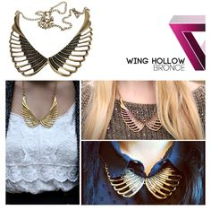 Bronze wing collar necklace