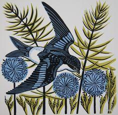 Housemartin Linocut Print Cathy King