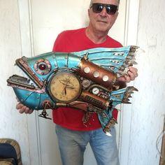 Steampunk Clock, Samurai, Fish, Style, Art, Steampunk Watch, Swag, Art Background, Pisces