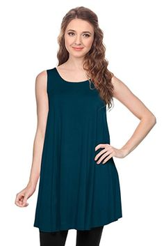 $16.99                               Simlu Womens Basic Sleeveless Long A-Line Made in USA Tank Top Tunic Vest at Amazon Women's Clothing store: