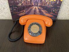 Vintage Orange phone, Old rotary phone, Soviet phone, Circle dial rotary phone, Vintage landline phone, Old Dial Desk Phone, Homephone Vintage Phones, Vintage Telephone, Orange Phone, Pay Attention To Me, Retro Phone, Vintage Gifts, Rotary, Landline Phone