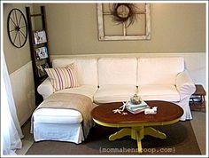 Ladder, window, coffee table and sofa. Love it.