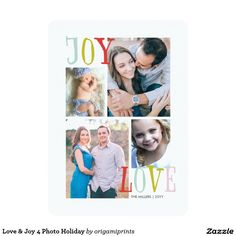 Love & Joy 4 Photo Holiday 5x7 Paper Invitation Card