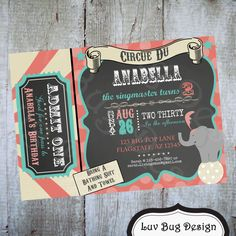 CIRCUS VINTAGE Admit One Birthday Party Printable Invite- printable party invitation by Luv Bug Design