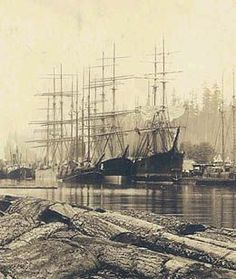 """oledavyjones: """" Port Blakely, close to Seattle, UW special collections """" Nautical Pictures, Old Sailing Ships, Merchant Navy, Forest Pictures, Vintage Boats, Set Sail, Wooden Boats, Tall Ships, Ship Art"""