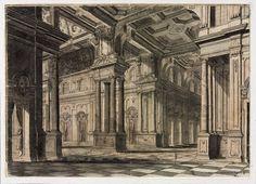 Interior escenógrafico de un palacio  ( Ca . 1720-1730)