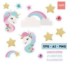 Hermosa y delicada ilustración digital de unicornio ------------------------------------------- Incluye: Unicornio, Arcoiris, flores y estrellas Formatos: PNG, EPS, AI Una vez realizada la compra, te enviaremos un archivo en WORD llamado LEEME-POR-FAVOR con el enlace para