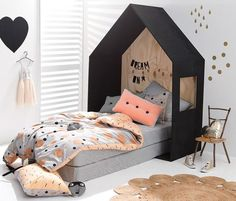 HOUSE BEDS - Mommo Design SO cute for little girls room/toddler! Baby Bedroom, Girls Bedroom, Peach Bedroom, Bedroom Ideas, Bedroom Decor, Bedroom Styles, Master Bedroom, Childrens Beds, House Beds