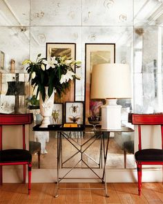 Google Image Result for http://1.bp.blogspot.com/-oANMbQ43_3I/T06NLHIiVJI/AAAAAAAACQQ/Bw8Q8ZctsQ0/s1600/red-chairs-entrance-hall-foyer-living-room-antiqued-mirrors-wall-decorating-eclectic-home-decor-ideas-nuevo-estilo.jpg