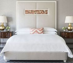 White linens are also a great choice for bolder schemes because they break up dark colors and busy patterns, making them look rich but not totally overwhelming. #whitebeddingsets
