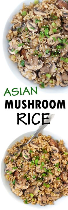EASY, delicious 6 ingredient Asian Mushroom Rice! SO GOOD and can be made into a main dish as well - see the tips on the page!! #vegan #plantbased #mushroom