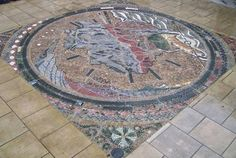 Pebble mosaic to celebrate William Smith's geological map. At The Yorkshire Museum Gardens, by Janette Ireland http://www.janetteireland.com/