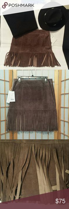 """Sexy, Fun New Worth  Leather Fringe Skirt sz 6 NWT, This Gorgeous High End Skirt is in  Excellent New Condition. Skirt is lined and behind the fringe is material. Waist is 30"""" length is 20"""". Worth NY Skirts"""