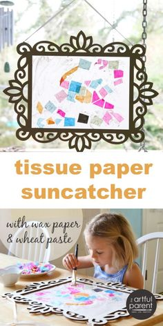 Tissue Paper Suncatcher with Wax Paper and Wheat Paste - Easy and eco-friendly!