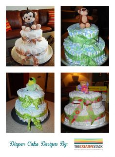 Diaper Cakes - the perfect baby shower or diaper party gift.  DYI - so easy to make!