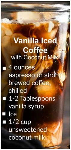 Homemade Vanilla Iced Coffee ~ This creamy Vanilla Iced Coffee with Coconut Milk is a light and refreshing drink that's perfect for a hot day! Coffee is Love. Thai Iced Coffee, Vanilla Iced Coffee, Homemade Iced Coffee, Starbucks Vanilla, Best Iced Coffee, Cold Brew Coffee Recipe, Iced Coffee At Home, Iced Coffee Drinks, Making Cold Brew Coffee