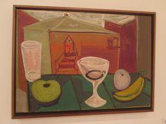 Alejandro Obregon  Barcelona 1920 - Cartagena 1992  Toldo y bodegon  Ca. 1945 Oleo sobre tela