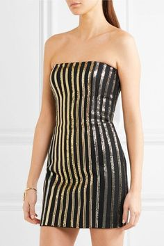 Balmain - Metal Mesh-paneled Crepe Mini Dress - Gold - FR