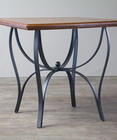 Another great find on Valletta Wood & Metal Transitional Table by Baxton Studio Wood Steel, Wood And Metal, Steel Furniture, Industrial Furniture, Wrought Iron Chairs, Iron Table, Steel Table, Living Room Interior, Dining Set