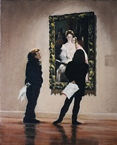 Admiring the Sargent by Pauline Roche Oil ~ 20 x 16