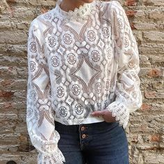 New Women blouse Elegant white lace shirt hollow out embroidery b. - New Women blouse Elegant white lace shirt hollow out embroidery b… Source by naniashoponline - Sexy Shirts, Loose Shirts, Short Shirts, White Lace Blouse, Lace Tops, Shirt Blouses, Lace Blouses, Party Blouses, Blouses For Women