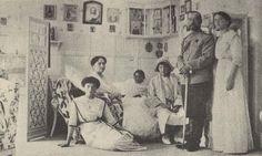 Romanov family in Aleksei's former bedroom at the Livadia Palace of Nicholas II, circa 1913.