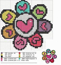Romero Britto X-stitch hearts in flower pattern