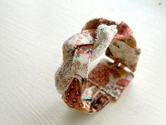 Fabric cuff bracelet in vintage flower child por PonderandStitch