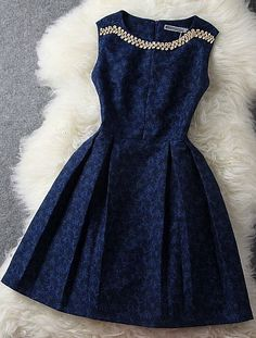 Love this style! Beautiful navy color with the embellishment! I want this dress!!!!