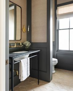 """Lexi Westergard Design's Instagram profile post: """"Texture is the name of the game in this powder room. I'm enamored with the collection of muted tones, striped grasscloth, mixed metals, and…"""" Interior Exterior, Bathroom Interior Design, Bathroom Styling, Bathroom Inspiration, Interior Inspiration, Living Colors, Architecture Restaurant, Up House, Custom Cabinetry"""