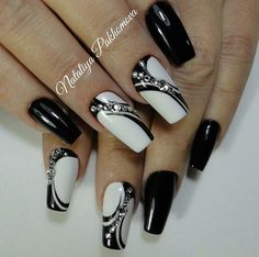 156 cute and cool summer nails designs ideas and images Black Nail Designs, Colorful Nail Designs, Beautiful Nail Designs, Acrylic Nail Designs, Nail Art Designs, Black Nails With Glitter, White Nails, Rhinestone Nails, Bling Nails
