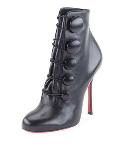 X3QYF Christian Louboutin Booton Leather Red Sole Button Bootie, Black