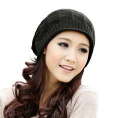 LOCOMO Women Girl Triangle Pattern Slouchy Knit Beret Beanie Crochet Rib Hat Cap Warm FAF028BLK Black