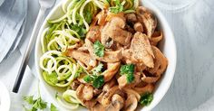 Sneak extra vegetables into your main with this speedy chicken stroganoff served with zucchini noodles.