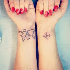 Tattoos that remind you to travel the world.