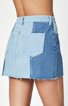 Contrast Panel Denim Skirt