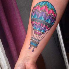 Hot Air Balloon Tattoo on Forearm by Joaquin Forero