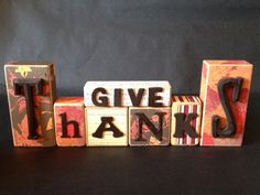 Give Thanks wooden blocks (scrapbook paper)