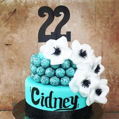 "thecakeballers on Instagram: ""Happy birthday to a very special 22 year old! Cidney, we are so happy we got to build you this sassy but fancy cake! www.cakeballers.com #thecakeballers #cakeballers #cakeballcake #aqua #black #anenome #happybirthday #idahoballers #eatmorecakeballs #fancy #gotballs #weballcake #treatyoself #sparkle #celebrationisourmiddlename"" Happy Birthday 22, Cake Ball, Happy We, Treat Yoself, 22 Years Old, Fancy Cakes, Smoothie Recipes, Birthday Cakes, Sassy"