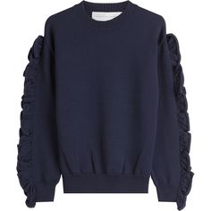 Victoria, Victoria Beckham Pullover (19.845 RUB) ❤ liked on Polyvore featuring tops, sweaters, blue, blue top, boxy sweater, navy pullover, navy blue sweater and sweater pullover