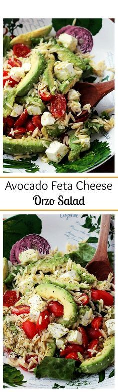 {Mediterranean} Bright, simple, and delicious appetizer salad with Avocados, Feta Cheese and Orzo.