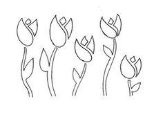 Plantillas de flores para estarcir gratis: Plantilla de flores gratis pars estarcir: grupo de tulipanes