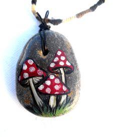 Painted Rock mushrooms hemp necklace by GnarlyArt on Etsy
