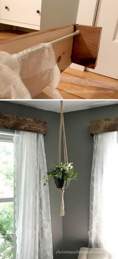 Awesome DIY Window Treatment Ideas and Tutorials DIY Rustic Window Valances with Lace Curtains.DIY Rustic Window Valances with Lace Curtains. Victorian Curtains, Rustic Curtains, Diy Curtains, Bedroom Curtains, Rustic Window Decor, Rustic Valances, Rustic Windows, Cabin Curtains, Bathroom Window Curtains