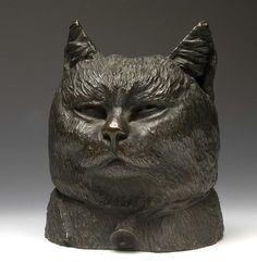 """""""Head of a Cat"""" - Bronze sculpture by Paul Wayland Bartlett (1865-1925) - modeled c. 1877-1880"""