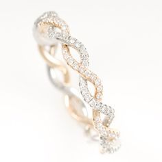White/rose gold eternity band...love! Perfect wedding band to go with a simple one stone engagement ring.